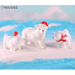 Christmas Day Small Gift Polar Bear Moss Succulent Glass Accessories Container Miniature Fairy Garden Bonsai White Bear Key Chain Pendant Animal Accessories