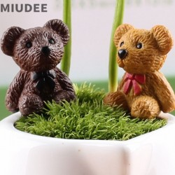 Miudee Crafts Factory Moss Succulent Glass Accessories Container Miniature Fairy Garden Lovely Small Bear Doll Diy Terrarium Kit Accessories