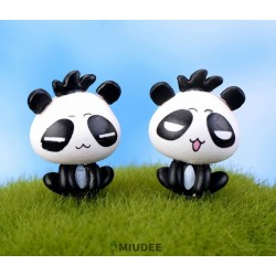 Miudee Crafts Factory Moss Succulent Glass Accessories Container Miniature Fairy Garden Cartoon Panda Doll Diy Terrarium Kit Resin Decorations